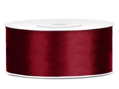 Dubbelzijdig satijn lint 25 mm Bordeaux rood