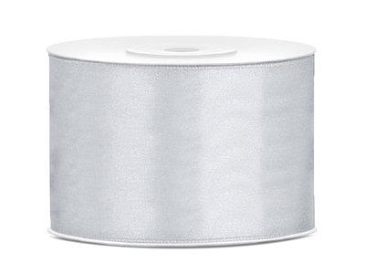 Dubbelzijdig satijn lint 50 mm Zilver