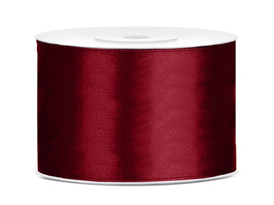 Dubbelzijdig satijn lint 50 mm Bordeaux rood