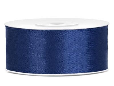 Satijn lint 25 mm donker blauw
