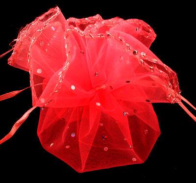 Organza buidel Rood met stipje