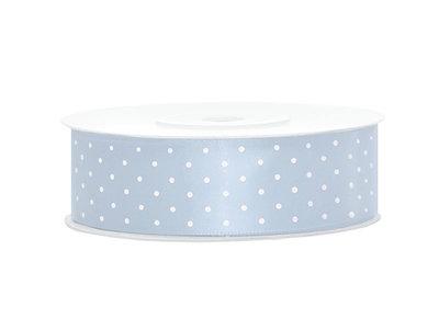 Satijn lint 25 mm Licht blauw met witte stippen
