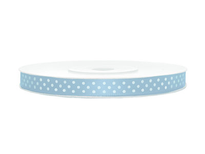Satijn lint 6 mm licht blauw met witte stippen