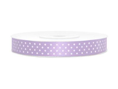 Satijn lint 10 mm polkadot Lavendel