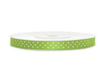 Satijn lint 6 mm lime groen met witte stippen
