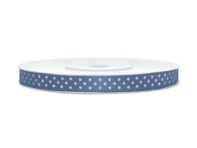 Satijn lint 6 mm blauw met witte stippen