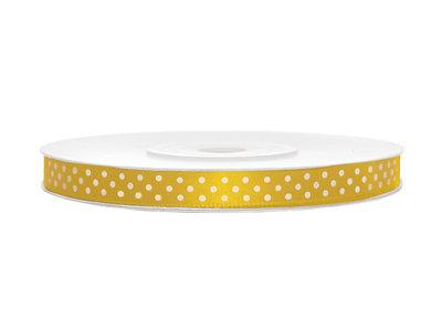 Satijn lint 6 mm geel met witte stippen