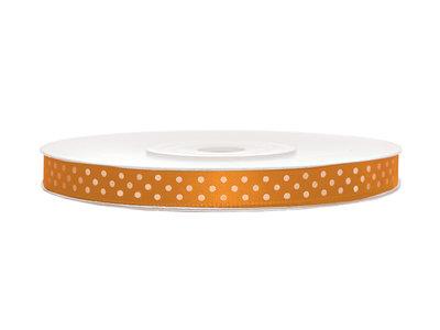 Satijn lint 6 mm oranje met witte stippen