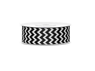 Grosgrain lint 25 mm zwart - wit zigzag