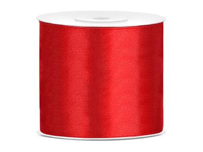 Satijn lint 75 mm rood