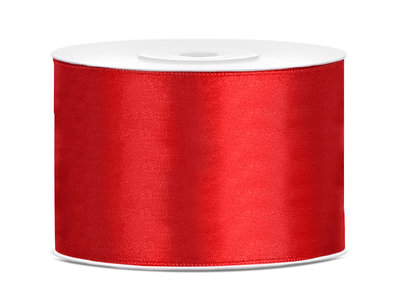 Satijn lint 50 mm rood