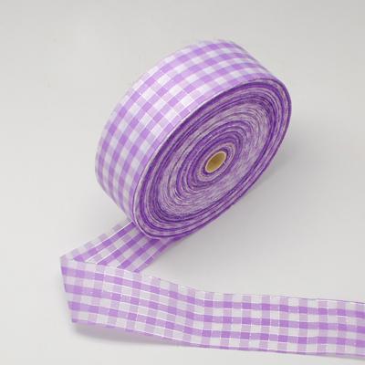 Katoen lint 4 cm breed Lavendel-wit geruit