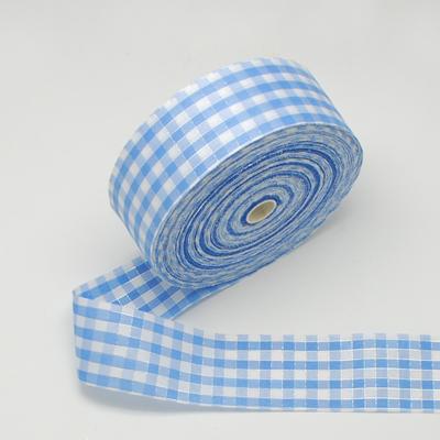 2 meter katoen lint 4 cm breed Licht blauw-wit geruit