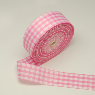Katoen lint 4 cm breed Roze-wit geruit 1.5 meter
