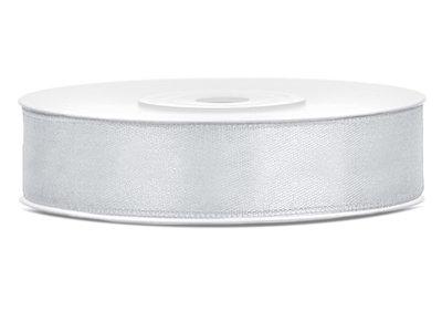Dubbelzijdig satijn lint 12 mm zilver