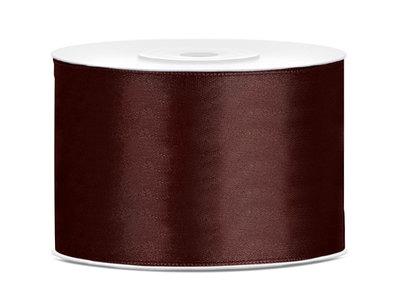 Satijn lint 50 mm bruin