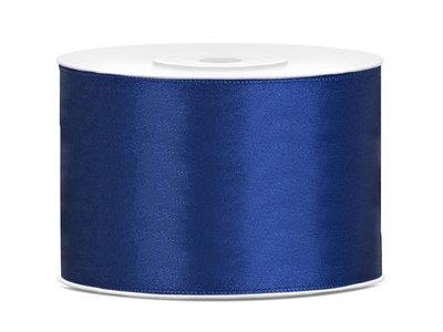 Satijn lint 50 mm blauw