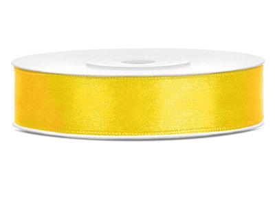 Satijn lint 12 mm geel