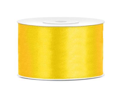 Satijn lint 38 mm geel