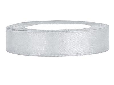 Satijn lint 1 cm breed zilver