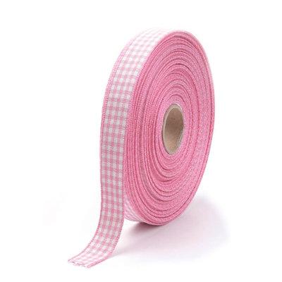 Ruitjes lint roze 15 mm breed