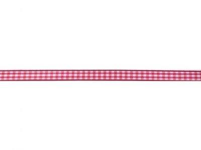 Ruitjes lint rood wit 1 cm breed