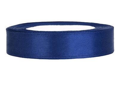 Satijn lint 1 cm donker blauw