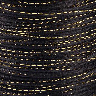 Satijnkoord 2 mm zwart met goud draad