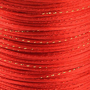 Satijnkoord 2 mm rood met goud draad