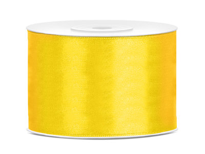 Dubbelzijdig satijn lint 50 mm geel