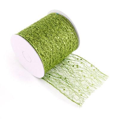 Weblint met draad 8 cm breed met glitter groen