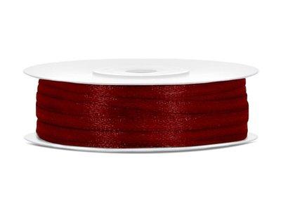Dubbelzijdig satijn lint 3 mm bordeaux rood 50 meter