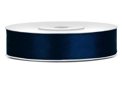 Satijn lint 12 mm donker blauw
