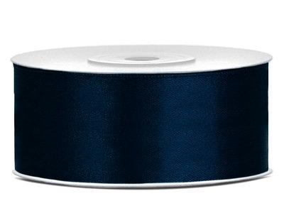 Satijn lint 2.5 cm breed donker blauw