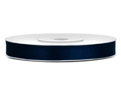 Satijn lint 6 mm donker blauw