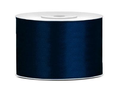 Satijn lint 50 mm donker blauw