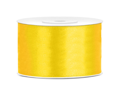Dubbelzijdig satijn lint 38 mm geel