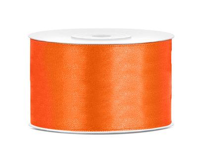 Dubbelzijdig satijn lint 38 mm oranje