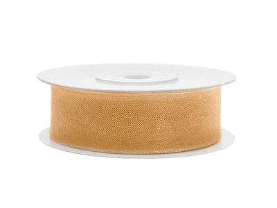 Organza lint 1 cm breed goud 45 meter rol