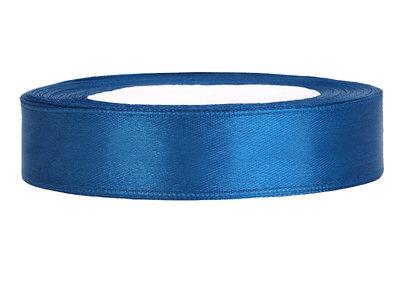 Satijn lint 1.5 cm breed blauw 25 meter