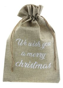 Jute zakje 20 x 30 cm we wish you a merry christmas wit