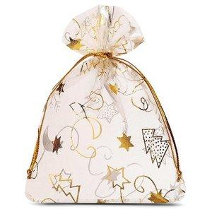 Organza zakjes kerst goud met gouden ijskristal 9 x 12 cm
