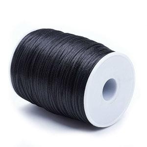 Satijn koord 1.5 mm zwart 100 meter rol