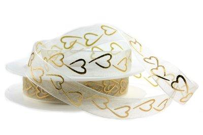 Organza lint 15 mm breed ivoor met goud metallic hartjes