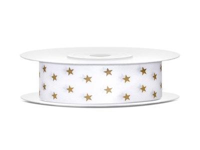 Satijn lint 18 mm breed wit met ster