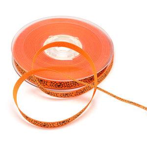 Grosgrain lint 1 cm oranje met zwart spinnenweb 5 meter