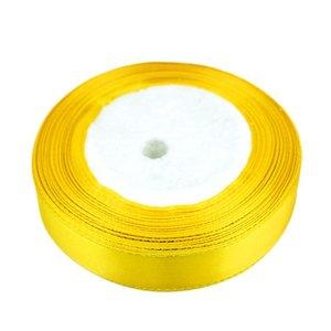 Satijn lint 25 mm geel met goud lurex randje