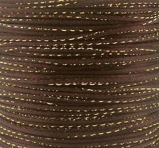 Satijn koord 2 mm bruin met goud draad