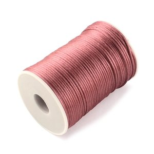 Satijn koord 2 mm oud roze 73 meter rol