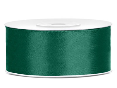 Satijn lint 25 mm donker groen